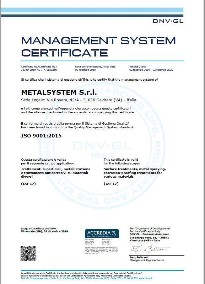 Metalsystem Srl - MANAGEMENT SYSTEM Certificate