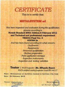 Metalsystem Srl - Norsok Standard M501 Vers. 5 - System 2A