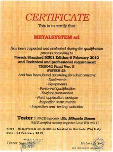 Metalsystem Srl - Norsok Standard M501 Vers. 5 - System 2B