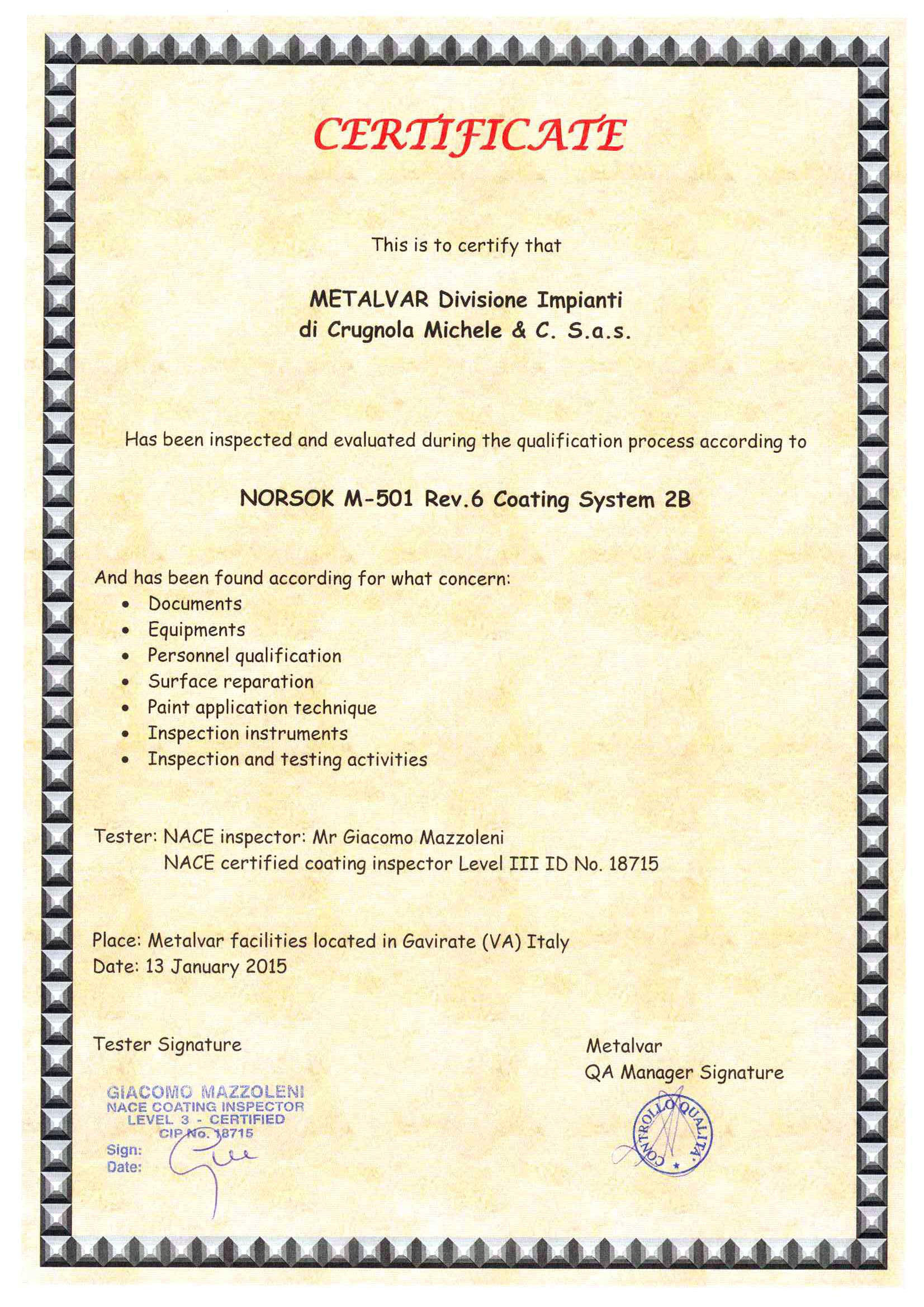 NORSOK M-501 rev 6 Coating System 2B